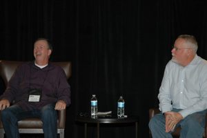 Mike Roche moderating a Q&A with the Michael Connelly at the 2014 WPA. Photo courtesy of Robin Templeton